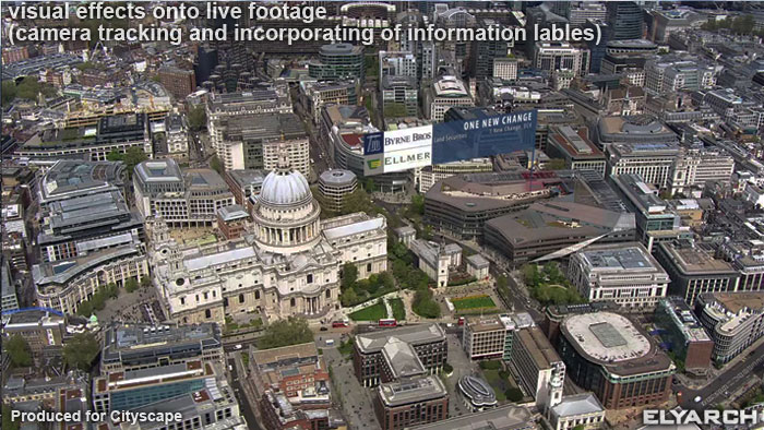 visual effects onto live footage:London iconic buildings labels