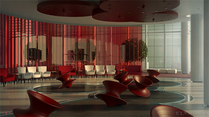 concept interior for an office lounge space featuring the Spun chair, designed by Thomas Heatherwick