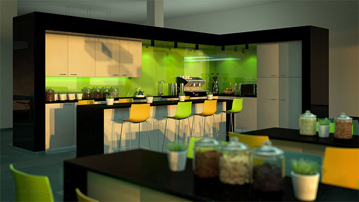 interior of an office kitchen with seating area - view A