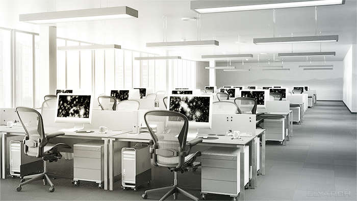 interior of an open plan office - desk area