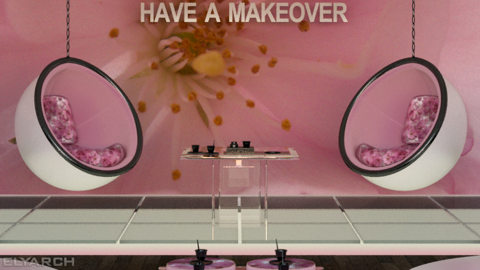 concept interior for a cosmetic brand:detail
