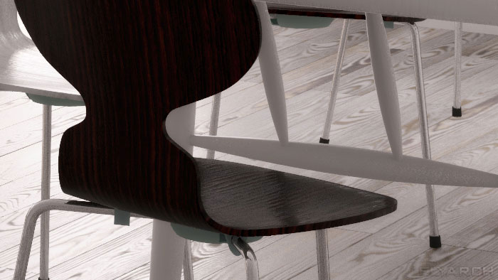 Ant chair - a detail from an interior concept for an opn plan apartment in scandinavian style