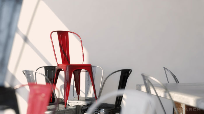 detail: Tolix inspired metal chairs