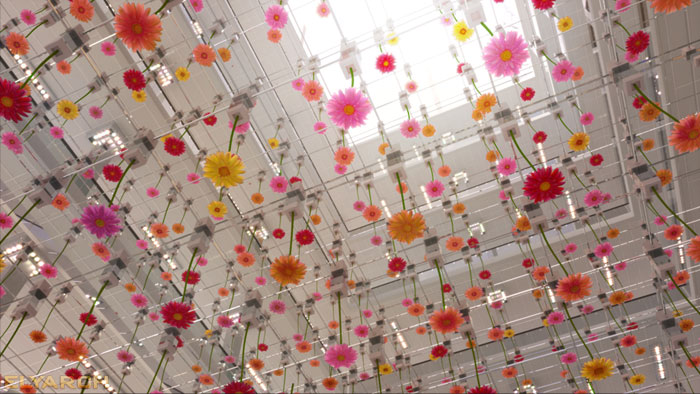 concept flower art display in an office building atrium