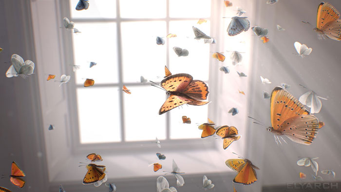a shot from a 3D CG video Gone? with slow motion butterflies