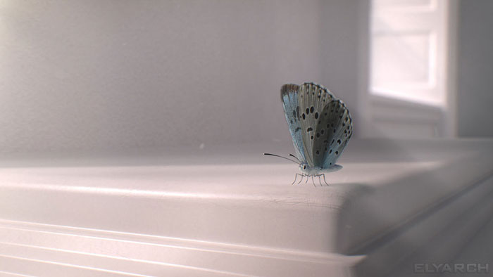 a frame from our CG short film 'Gone?': the Large Blue butterfly - a symbol of rebirth and hope