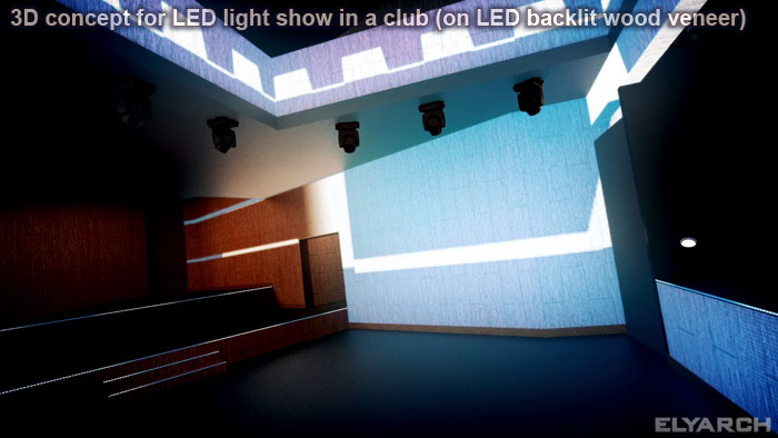 3D for light projection club installation