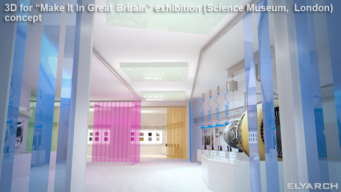 3D concept for 'Make It In Great Britain' exhibition in the Science Museum, London