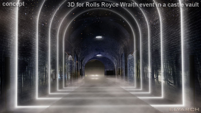 3D concept for Rolls Royce luxurious experience in a castle vault