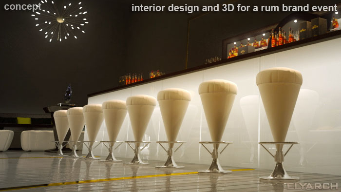 3D for a rum brand luxurious event